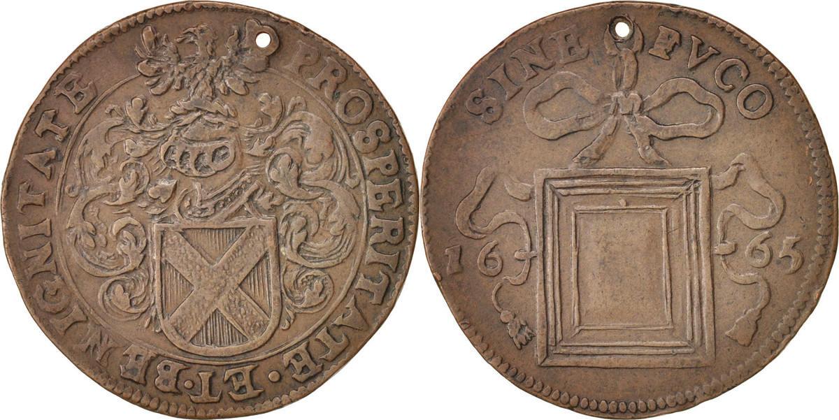 Token 1665 Belgien Spanish Netherlands, Charles II, Bruxelles, SS+, Copper SS+