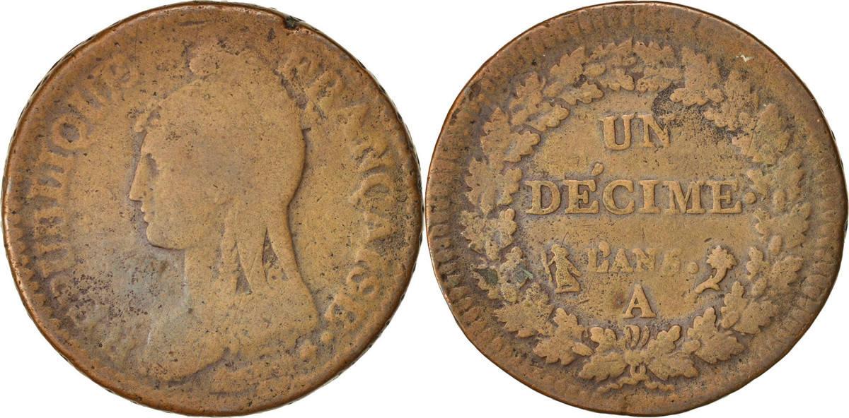 Decime 1796 A Frankreich Dupré, Paris, S, Bronze, KM:644.1, Gadoury:187 S