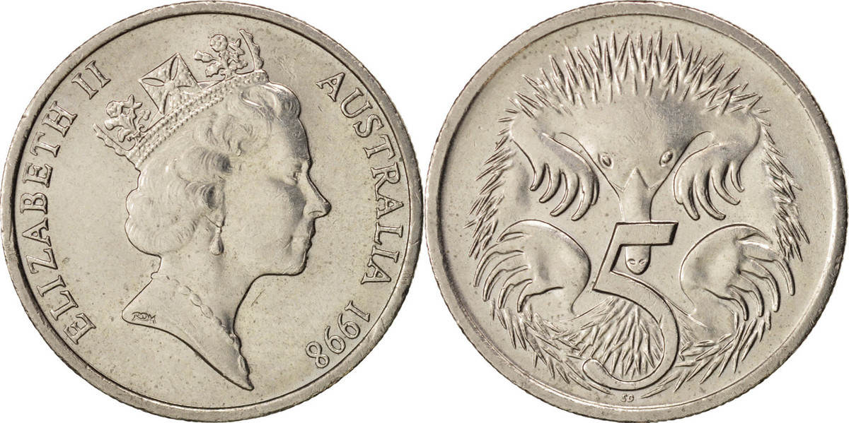 5 Cents 1998 Australien Elizabeth II, VZ+, Copper-nickel, KM:80 VZ+