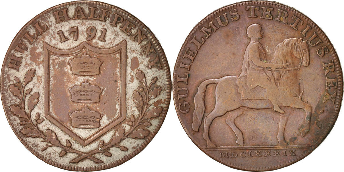 Token 1791 Großbritannien Garton's Hull (Yorkshire) copper Conder halfpenny S+