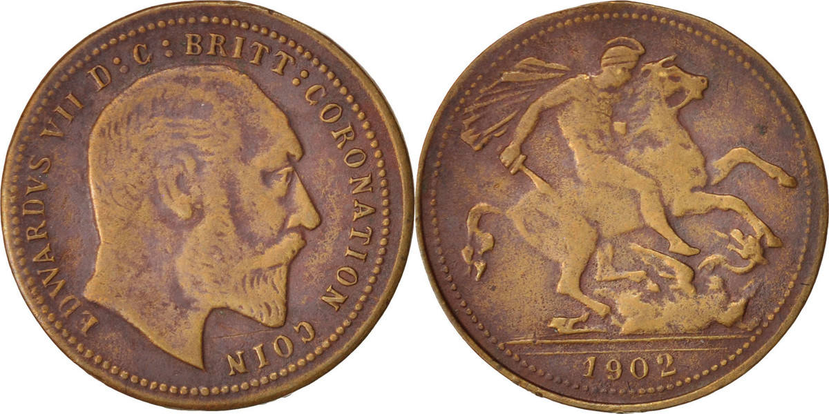 Token XIX Century Großbritannien Edward VII Coronation, SS, Copper, 22 SS