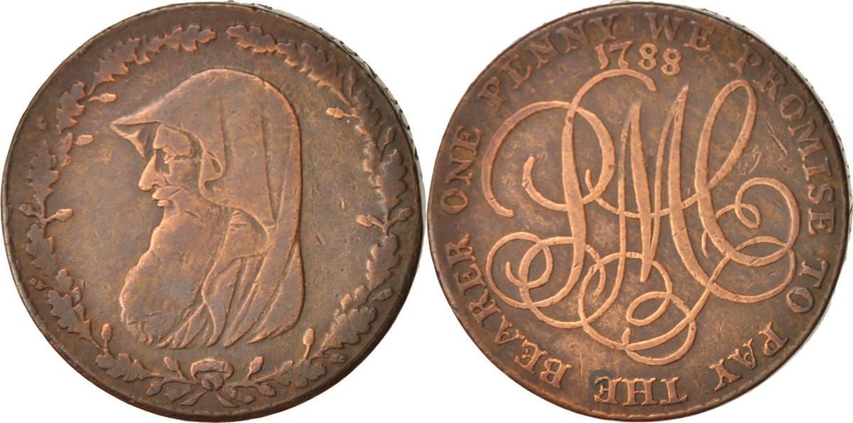 Jeton 1788 Großbritannien Penny, SS+, Copper, 31 SS+