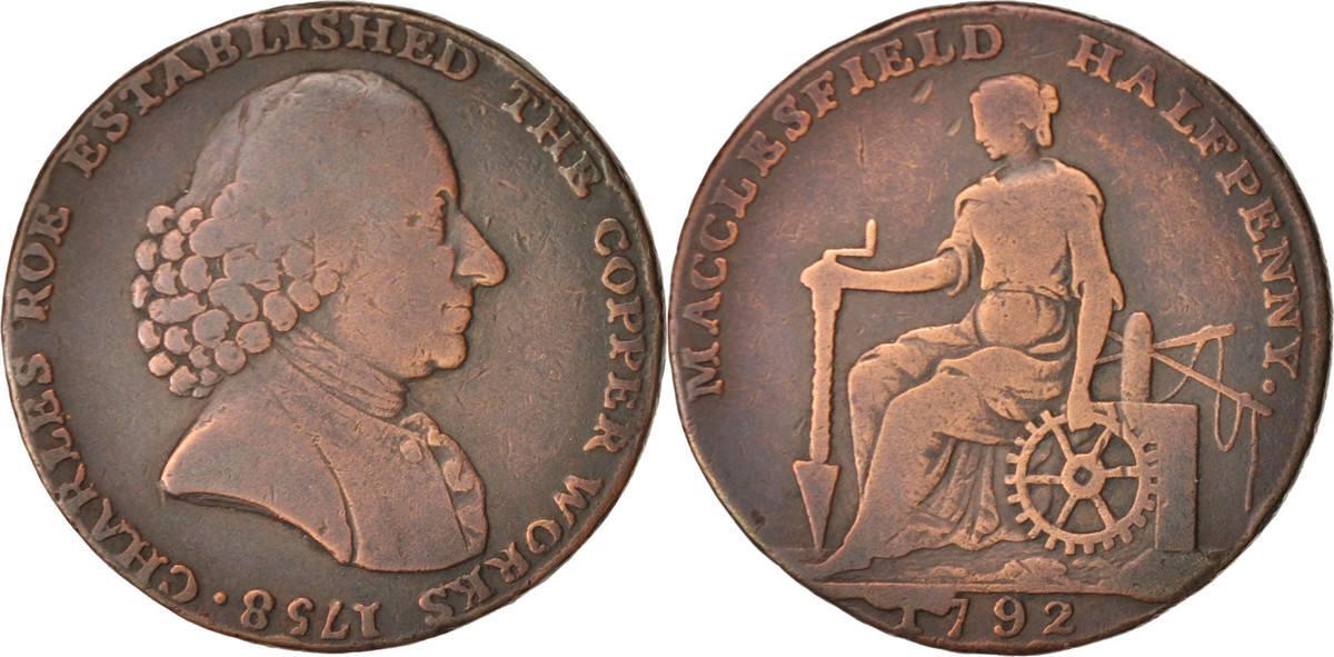 Token 1792 Großbritannien Macclesfield halfpenny, SS+, Copper, 29 SS+