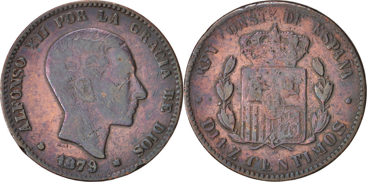 10 Centimos 1879 Spanien Alfonso XII, SGE+, Bronze, KM:675 SGE+