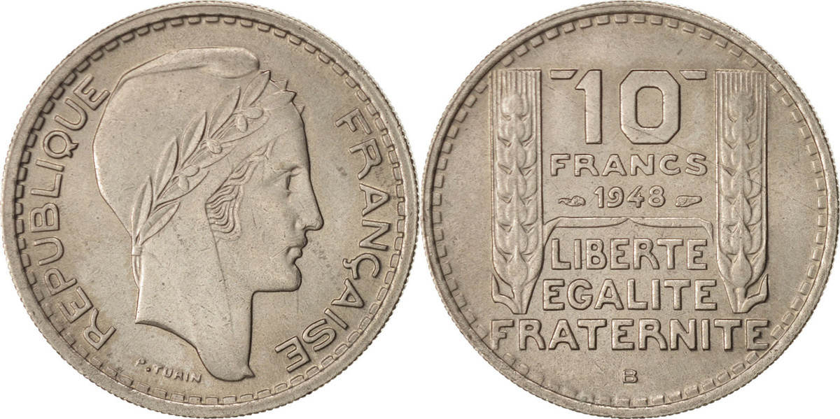 10 Francs 1948 B Frankreich Turin, Beaumont - Le Roger, SS+, Copper-nickel,... SS+
