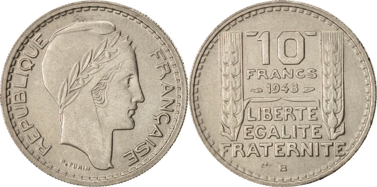 10 Francs 1948 B Frankreich Turin, Beaumont - Le Roger, VZ, Copper-nickel, K... VZ