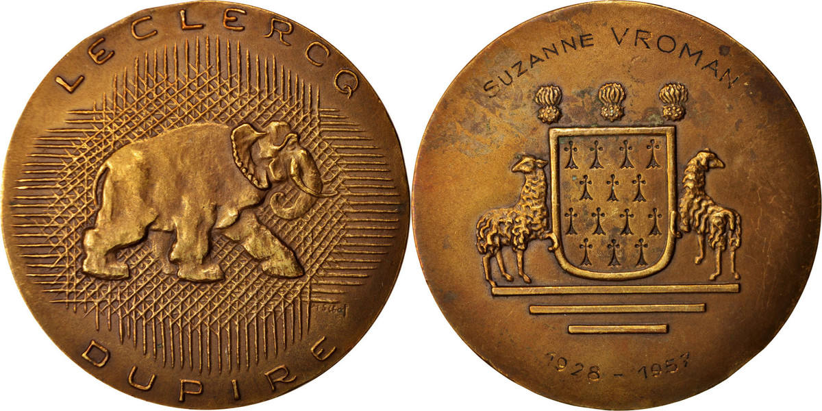 Medal 1957 Frankreich Leclercq Dupire, Business & industry, SS+, Bronze SS+