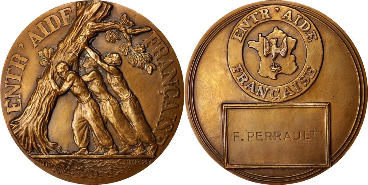 Medal Frankreich Entr'aide Française, Politics, Society, War, VZ, Bronze VZ