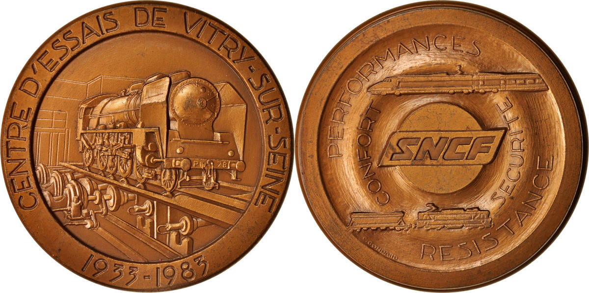 Medal 1983 Frankreich Centre d'essais de Vitry-sur-Seine, Railway, SS+ SS+
