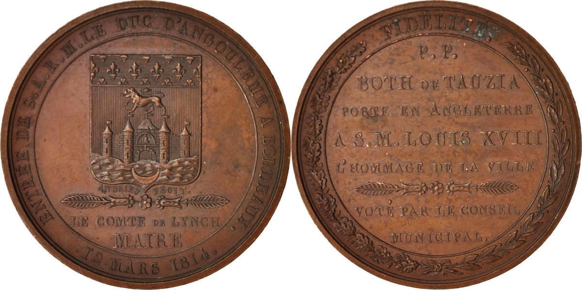 Medal 1814 Frankreich Entrée du duc d'Angoulême à Bordeaux, History, An... SS+
