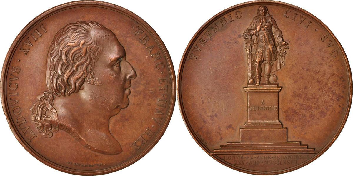 Medal 1823 Frankreich Érection à Sedan de la statue de Monsieur de Turenne, Lo... SS+