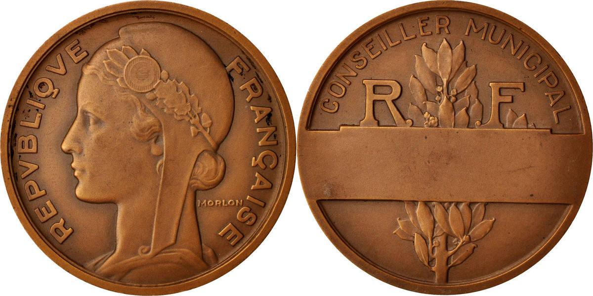 Medal Frankreich Conseiller municipal, Politics, Society, War, Morlon, VZ VZ