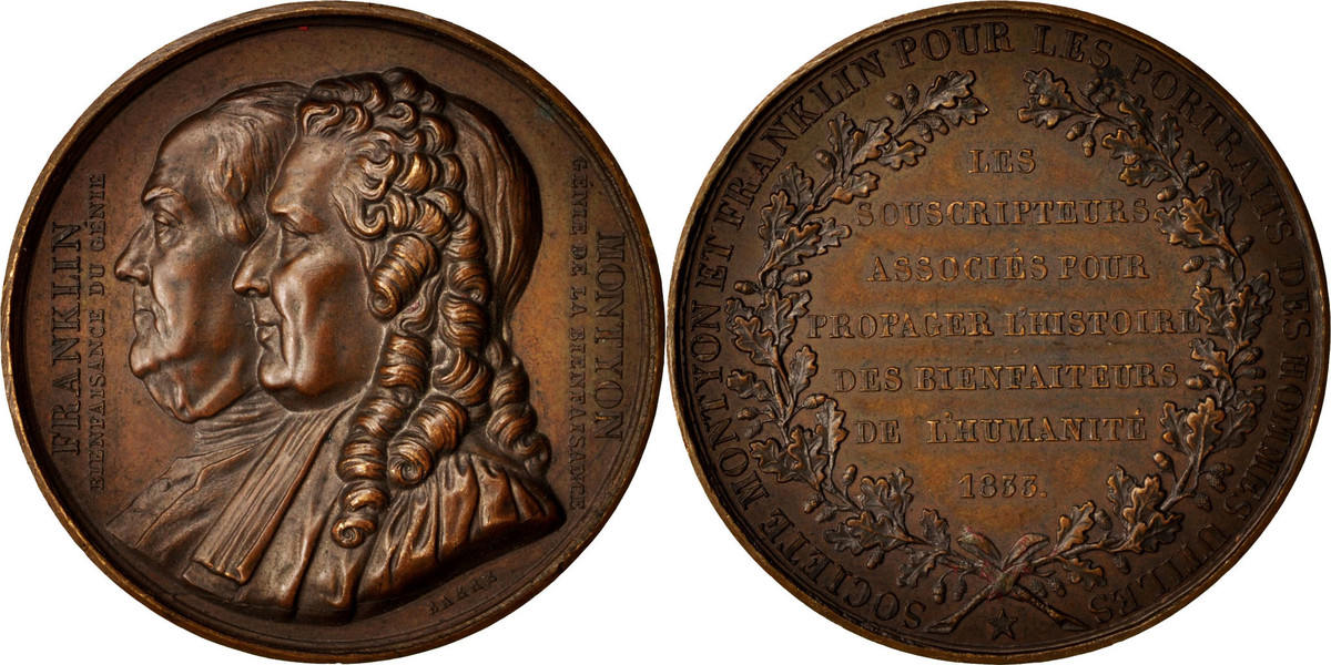Medal 1833 Frankreich FranklIn and Montyon, History, Barre, SS+, Bronze SS+
