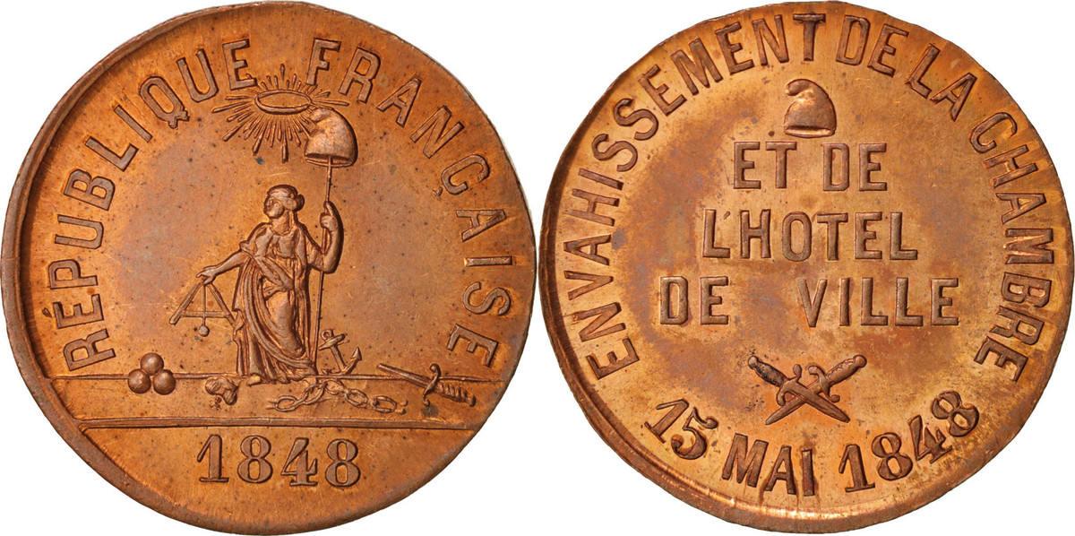 Medal 1848 Frankreich Envahissement de la chambre et de l'hôtel de ville, Polit... STGL