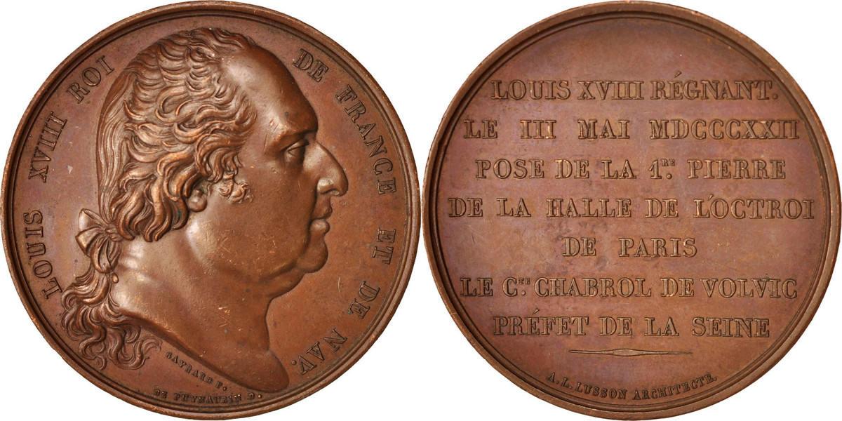 Medal Frankreich Louis XVIII, Halle de l'Octroi de Paris, Arts & Culture, G... SS+