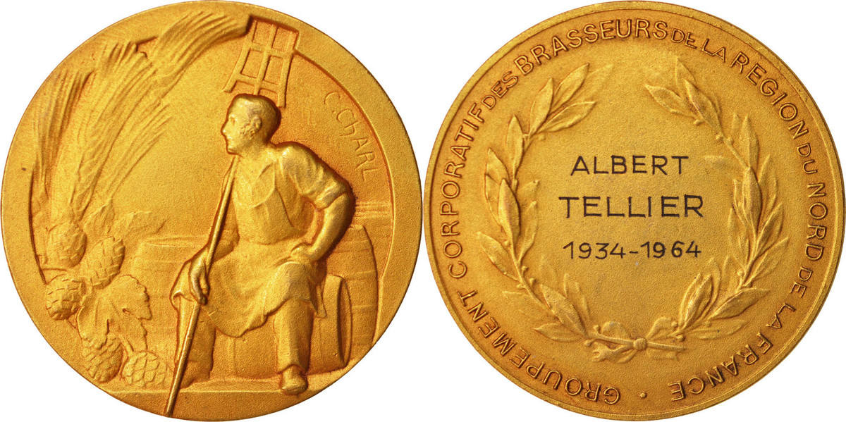 Medal 1964 Frankreich Groupement corporatif des brasseurs de la région du nord... VZ
