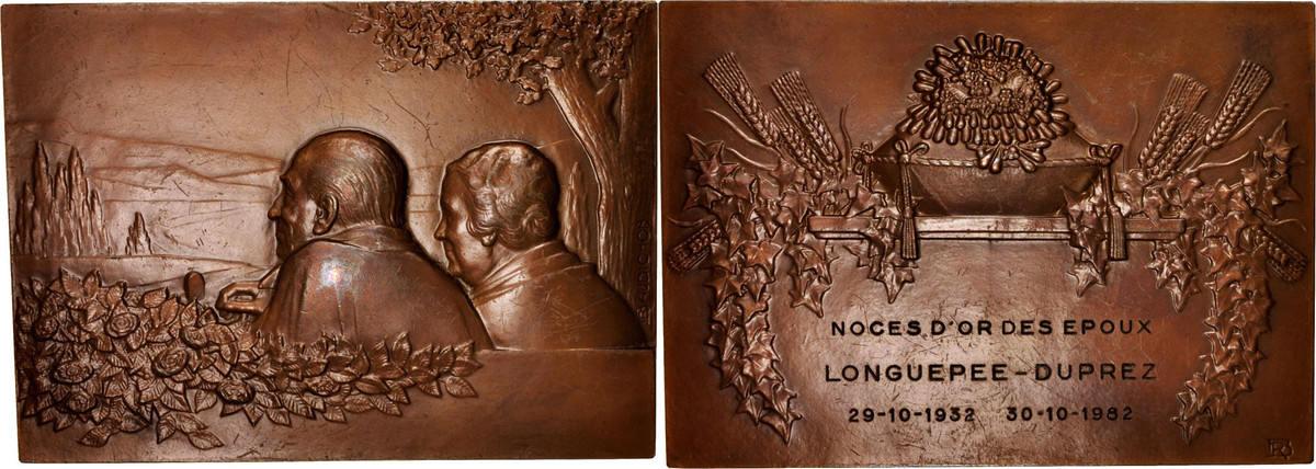 Medal 1982 Frankreich Noces d'or des époux Longuepee-Duprez, Religions & belief... SS+