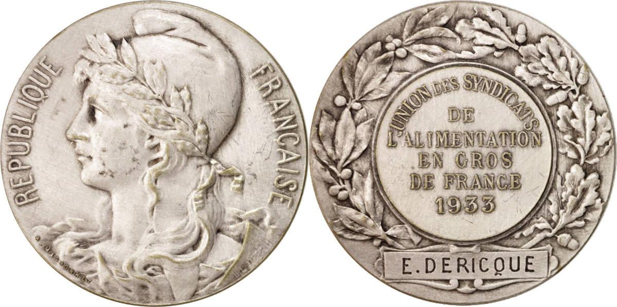 Medal 1933 Frankreich Union des syndicats de l'alimentation en gros de France, B... SS+