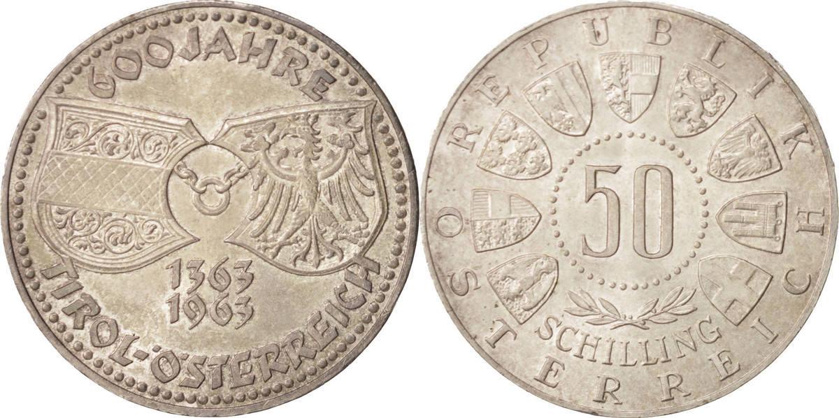 50 Schilling 1963 Österreich UNZ, Silber UNZ