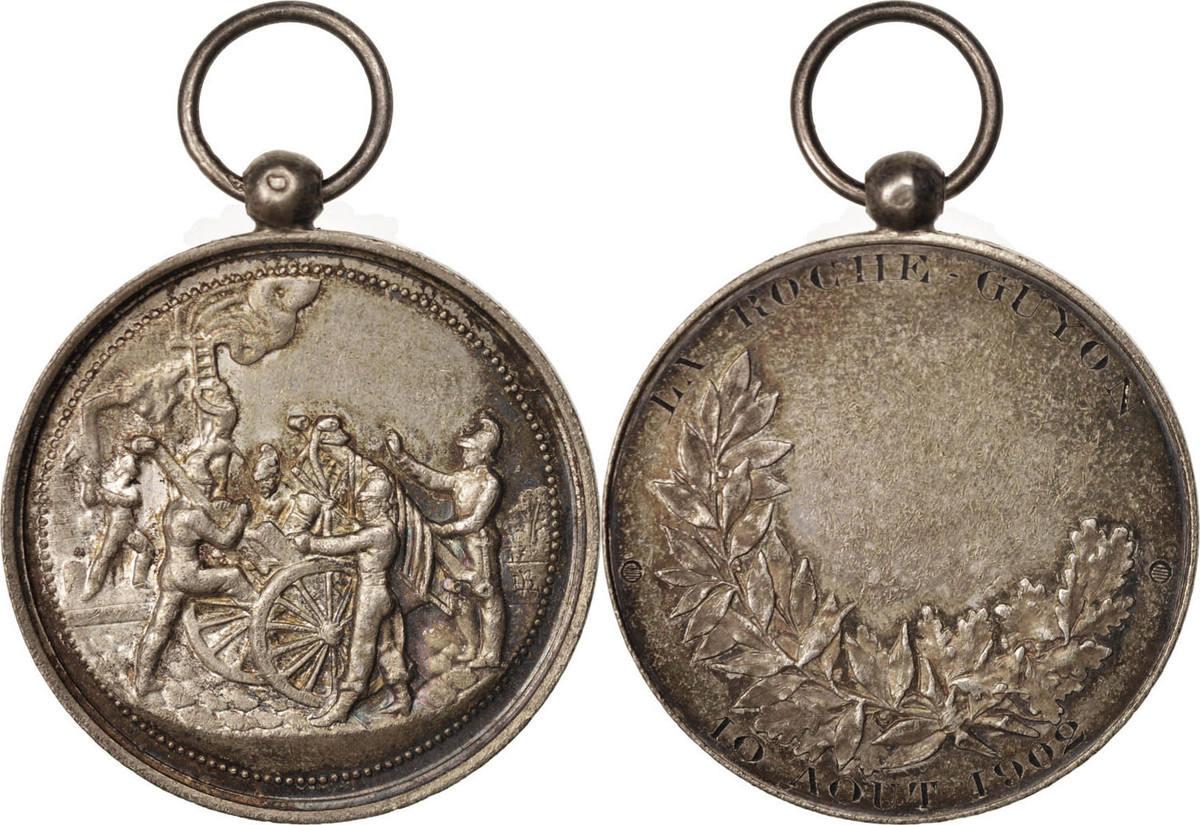 Medal XIXth Century Frankreich Sapeurs-pompiers de La Roche-Guyon, Politics, Society, War VZ