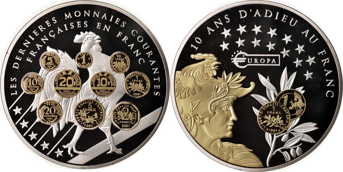 Medal Undated (2013) Frankreich 10 ans d'adieu au Franc, Les dernieres monnaies courantes STGL