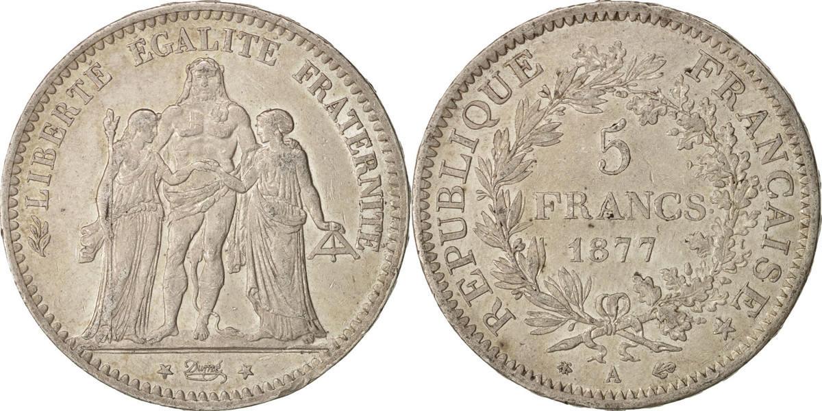 5 Francs 1877 A Frankreich Hercule, Paris, SS+, Silber, KM:820.1, Gadoury:745a SS+