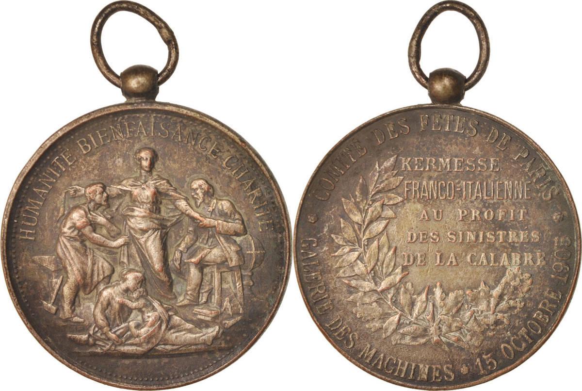Medal 1905 Frankreich Comité des fêtes de Paris, Kermesse Franco-Italienne, Po... SS