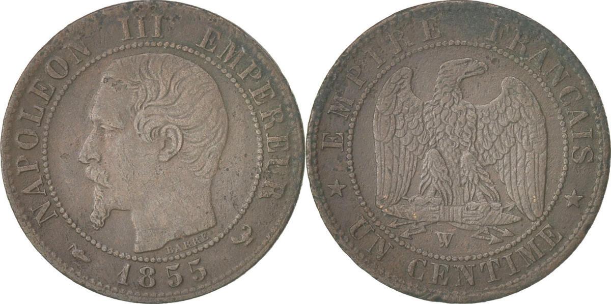 Centime 1855 W Frankreich Napoleon III, Napoléon III, Lille, SS+, Bronze, K... SS+
