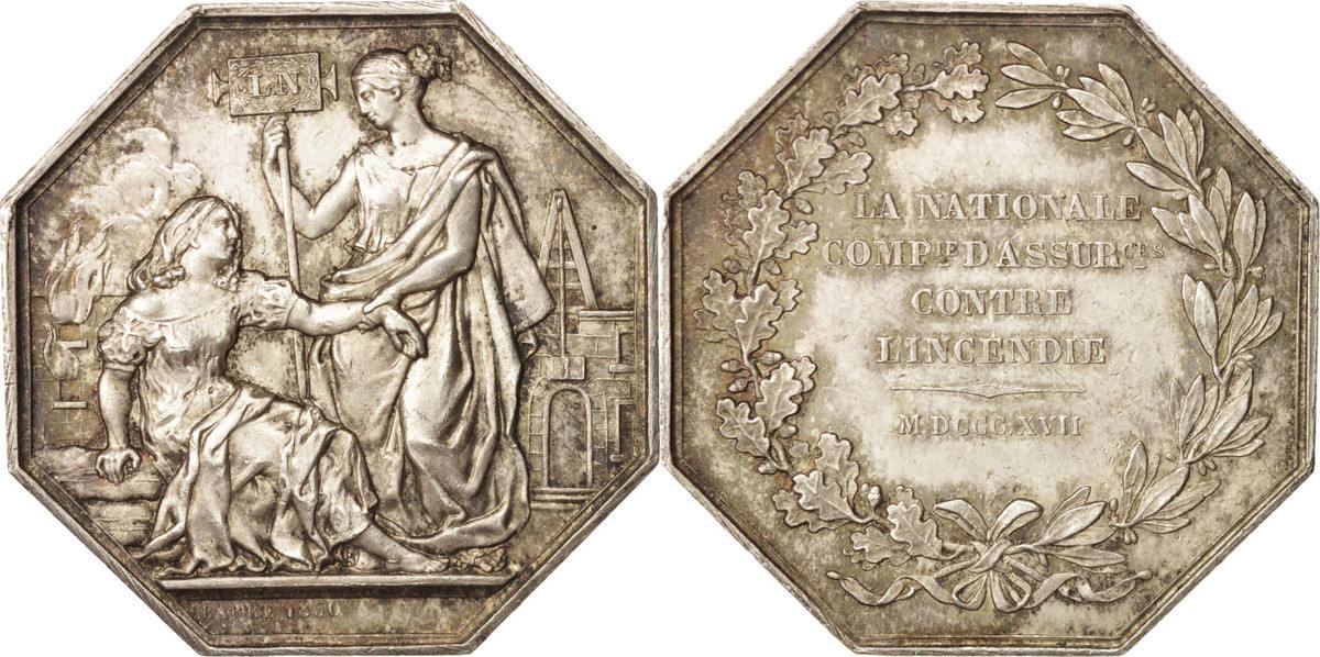 Token 1817 Frankreich Insurance, La Nationale, Barre, SS+, Silber, Gailhou... SS+