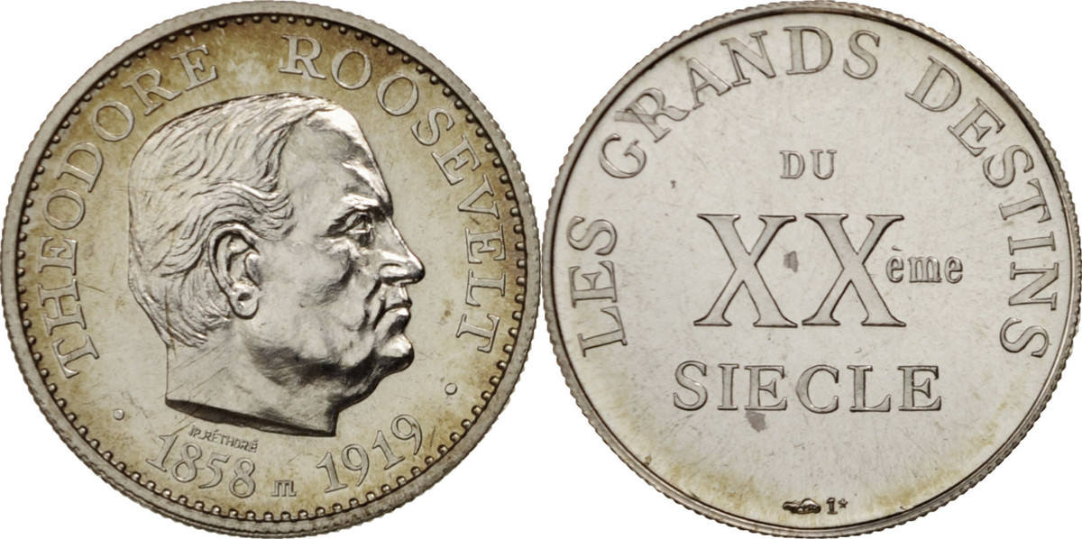Medal Frankreich Theodore Roosevelt, Les grands destins du XXe siècle STGL