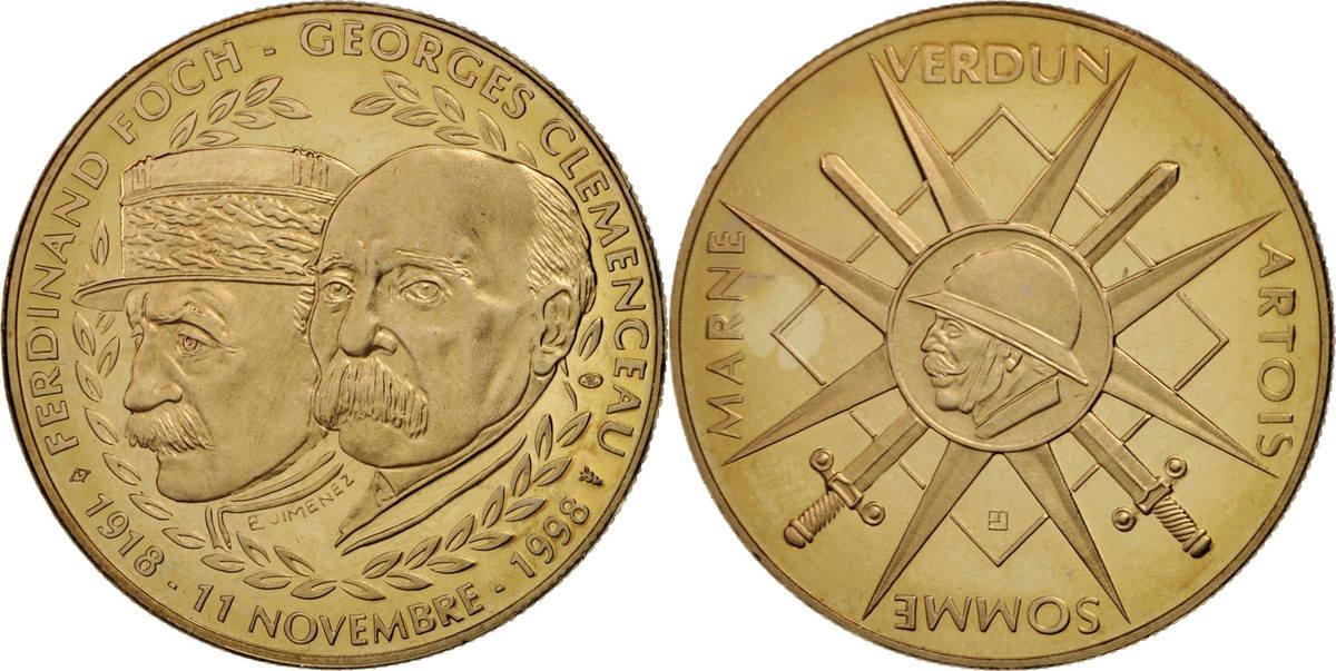 Medal 1998 Frankreich Foch - Clémenceau, French Fifth Republic, History STGL