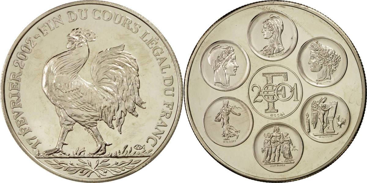 Medal 2002 Frankreich Fin du cours légal du Franc, History, STGL, Nickel STGL