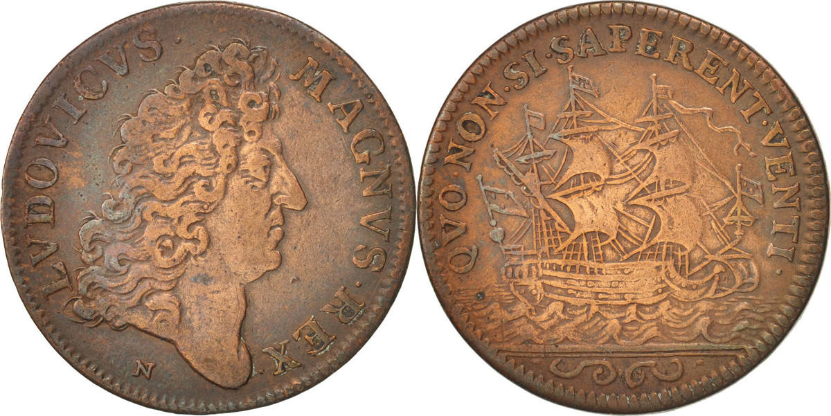 Token XVIIth Century Frankreich Royal, Marine, Louis XIV, SS, Copper SS