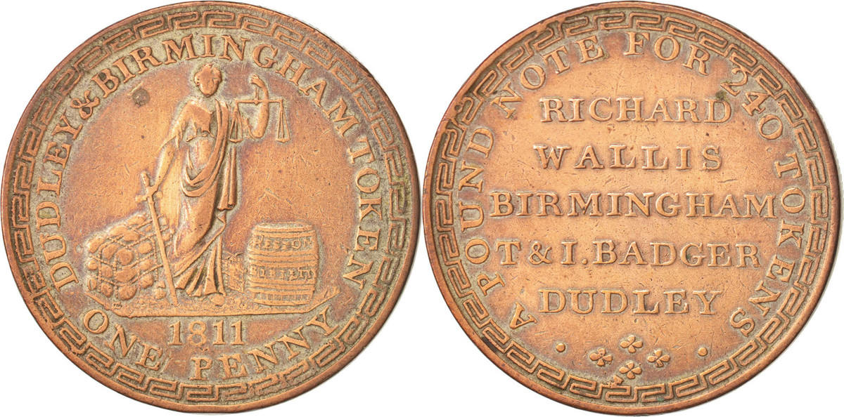 Token 1811 United Kingdom Trades, Wallis & Badger Dudley & Birmingham Penny SS+