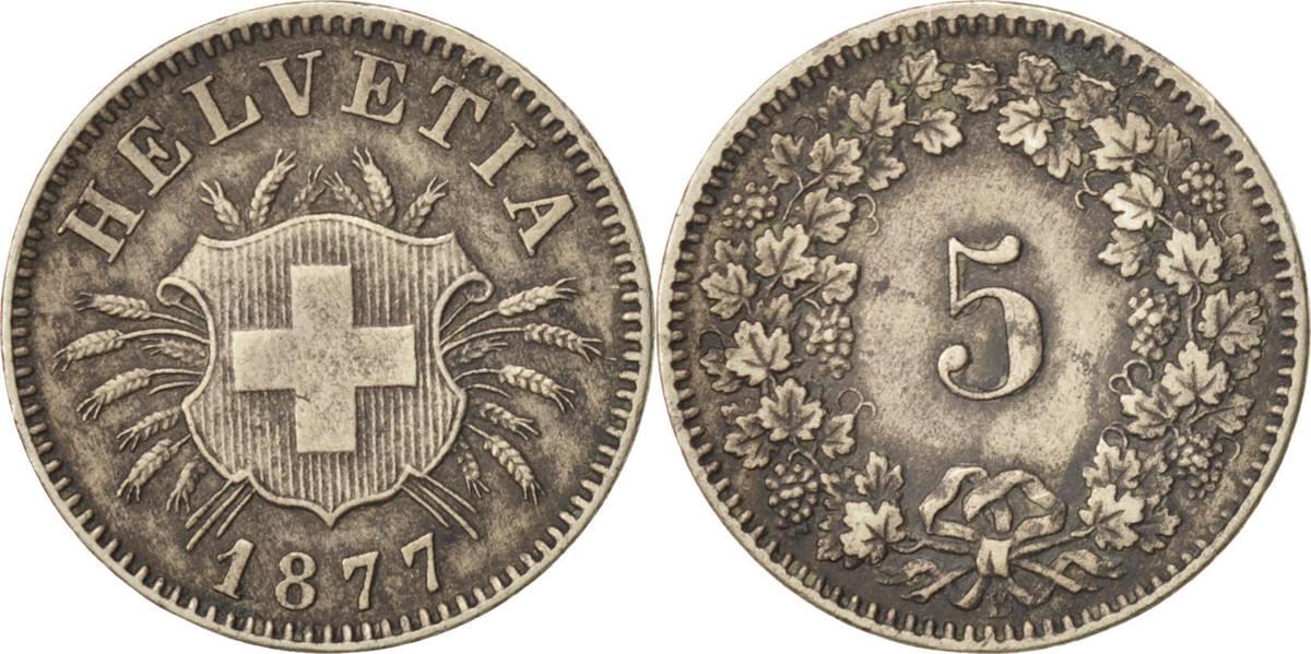 5 Rappen 1877 B Schweiz Bern, VZ, Billon, KM:5 VZ