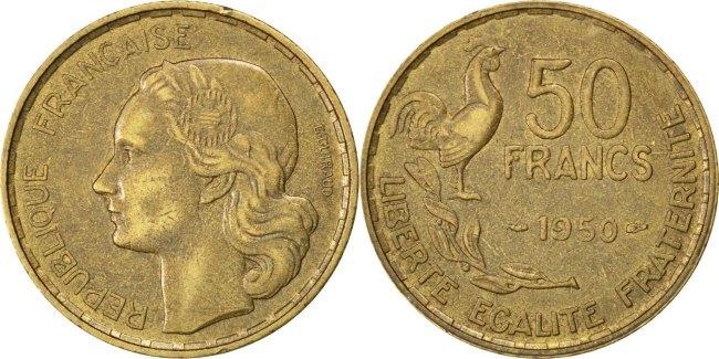 50 Francs 1950 Frankreich Guiraud EF(40-45)