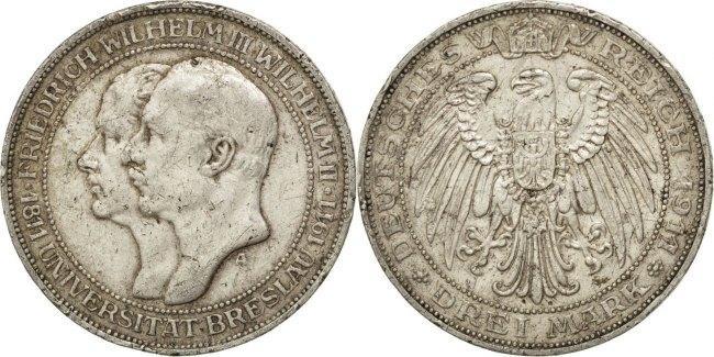 3 Mark 1911 A Deutsch Staaten Breslau University Wilhelm II EF(40-45)