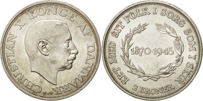 2 Kroner 1945 (h) Dänemark King's 75th Birthday Christian X MS(64)