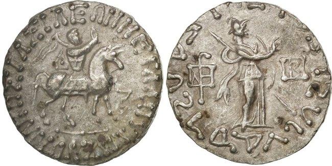 Tetradrachm  Azes I, Indo Scythians EF(40-45)