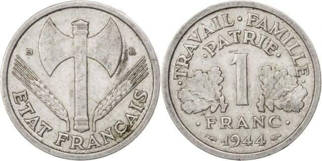 Franc 1944 B Frankreich Bazor EF(40-45)
