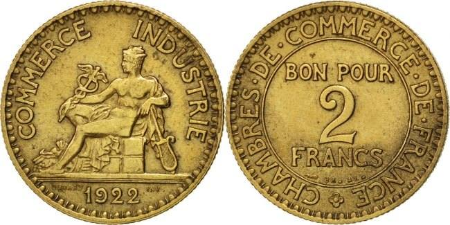 2 Francs 1922 Frankreich French Chamber of Commerce Chambre de commerce AU(50-53)