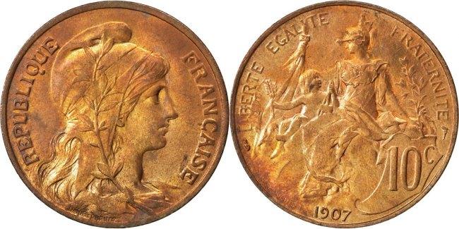 10 Centimes 1907 Paris Frankreich Dupuis MS(65-70)