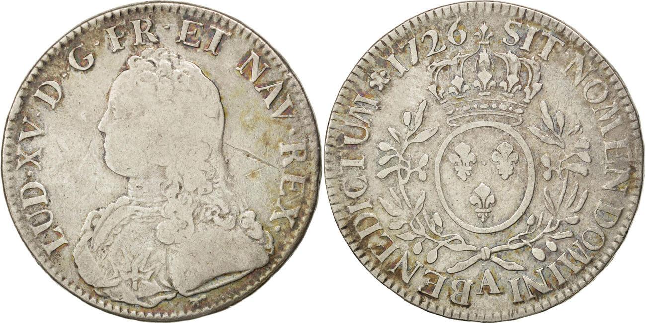 Ecu 1726 A Frankreich Écu aux branches d'olivier Louis XV 1715-1774 Louis XV le Bien-Aimé VF(30-35)