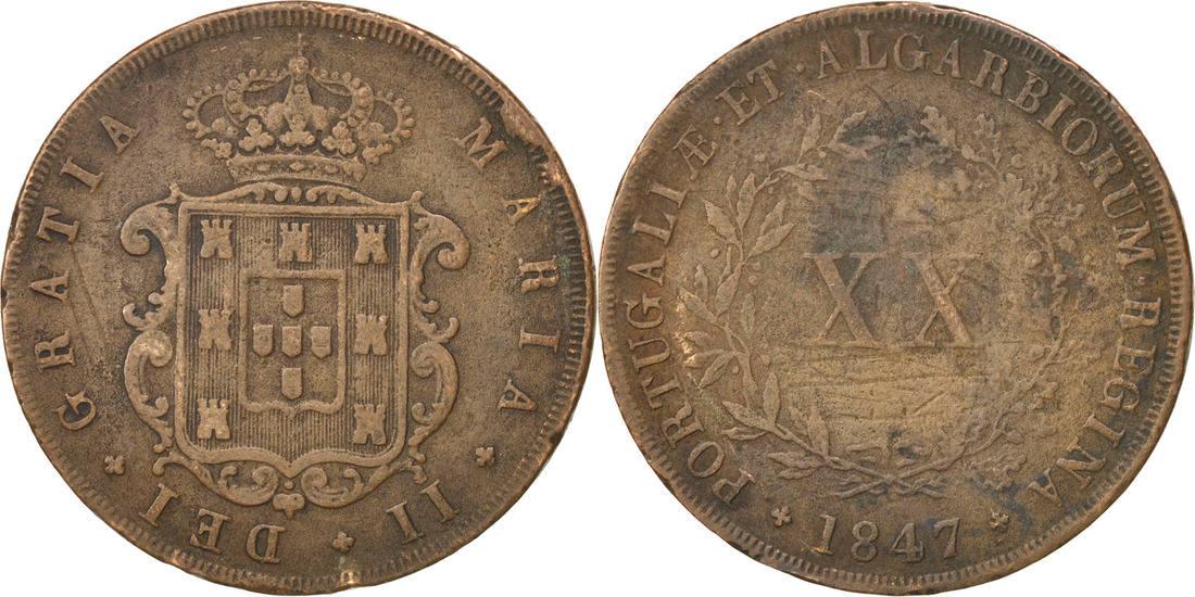 20 Reis 1847 Portugal Maria II VF(20-25)