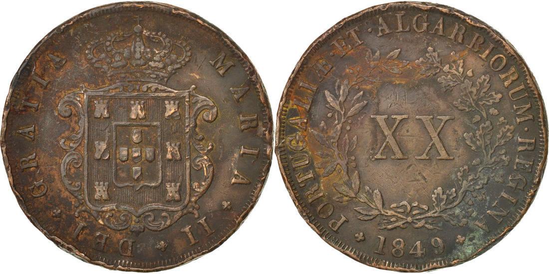 20 Reis 1849 Portugal Maria II VF(20-25)
