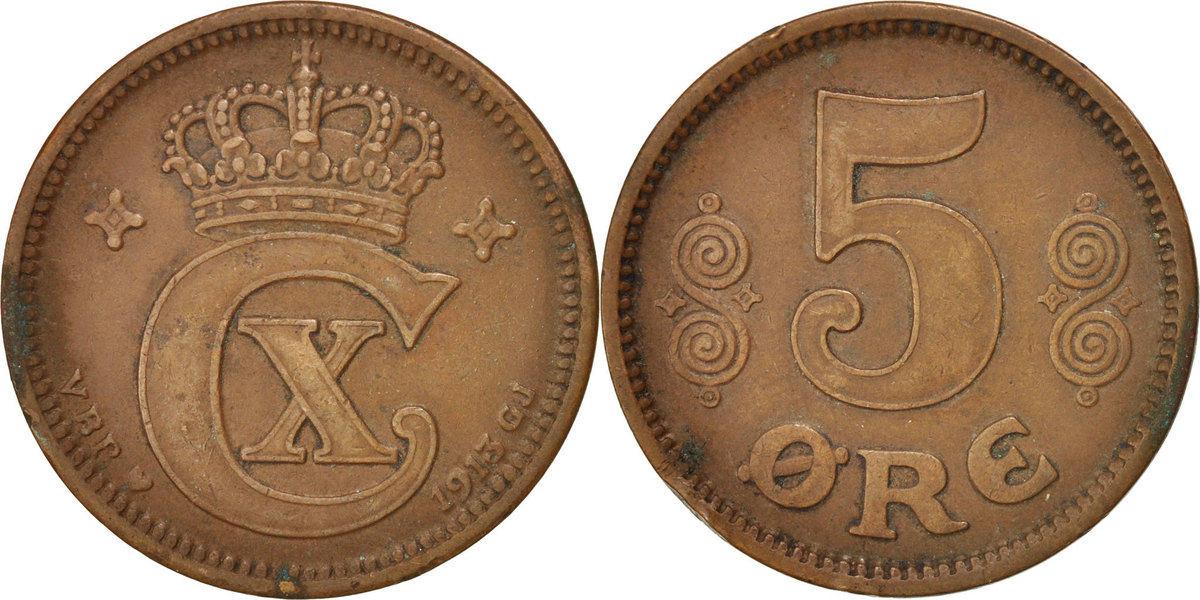 5 Öre 1913 (h) Dänemark Christian X EF(40-45)