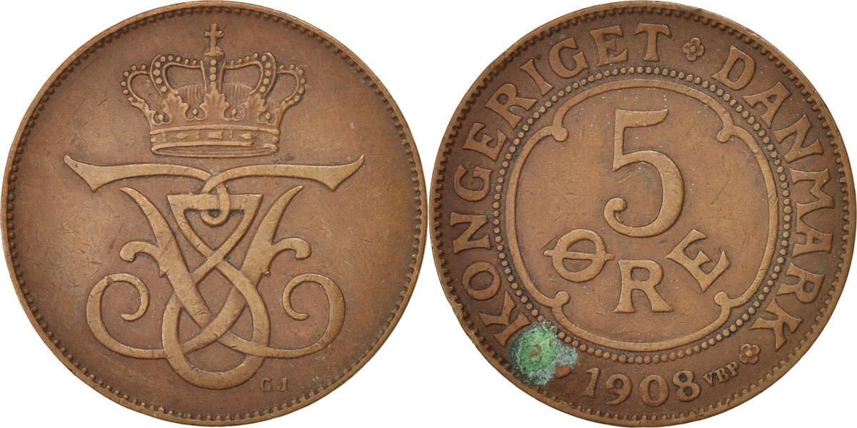 5 Öre 1908 (h) Dänemark Frederik VIII EF(40-45)