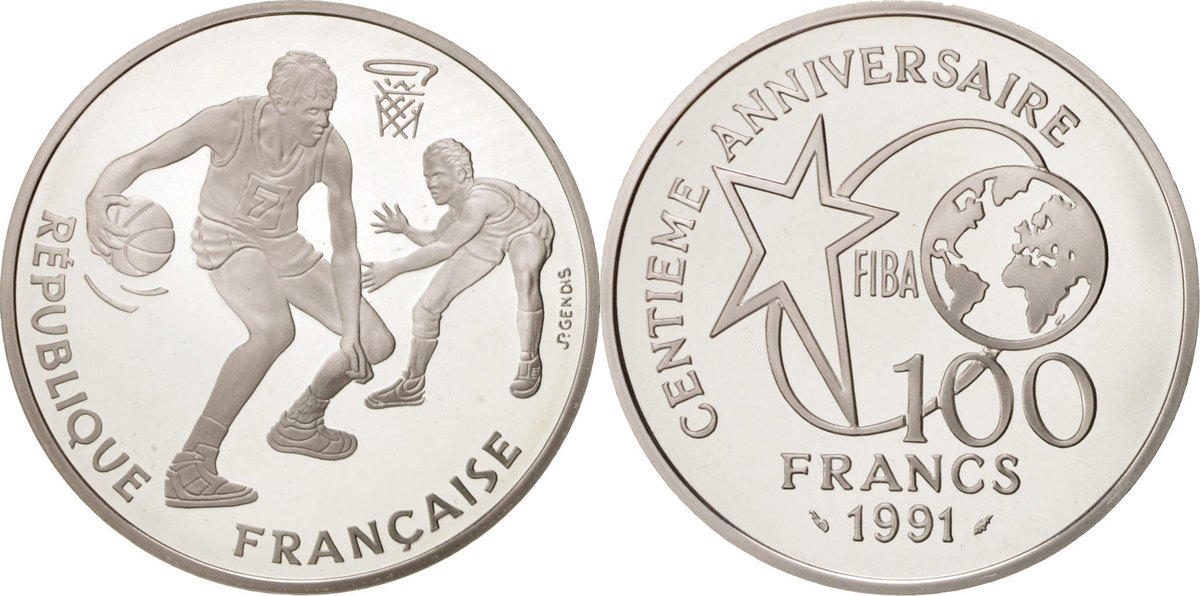 100 Francs 1991 Frankreich 100th Anniversary of Basketball MS(65-70)