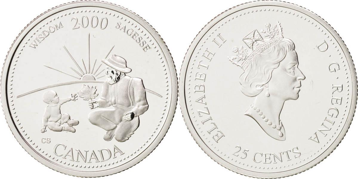 25 Cents 2000 Royal Canadian Mint Kanada Wisdom Elizabeth II MS(65-70)