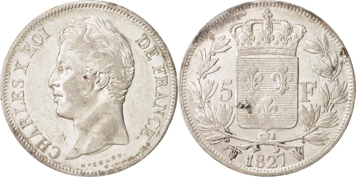 5 Francs 1827 W Frankreich Charles X AU(50-53)